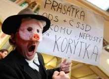 Чехия Прага демонстрации в центре Праги